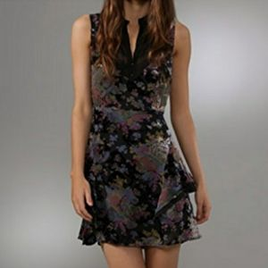 Free People Lace and Velvet Ruffle Dress
